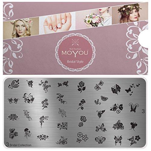 MoYou's XL Bridal 3 Stamping Schablone, Nail Art Stampling - Nagel Lack Stempel, Blumen und Schmetterlinge Maniküre