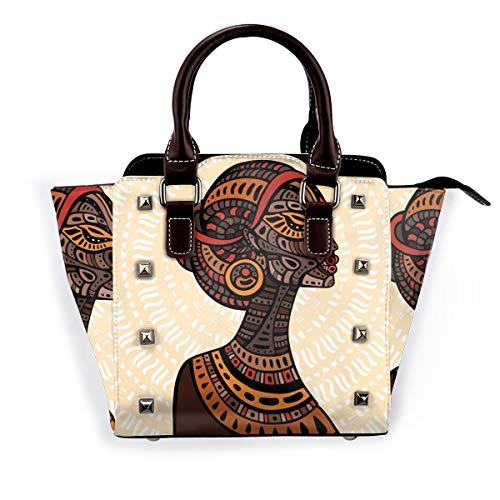 Damen Schultertasche, Vogel-Blumen-Gitarre, echtes Leder, Nieten, Pink - Schöne afrikanische Frau - Größe: Einheitsgröße