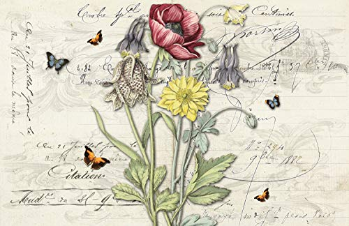 Monahan Papers 24 French Country Disposable Paper Placemats for Parties, Dining Table | Pink, Yellow, Lavender | Decorative Floral, Butterfly Vintage Style Party Place Mat for Wedding, Kitchen Decor