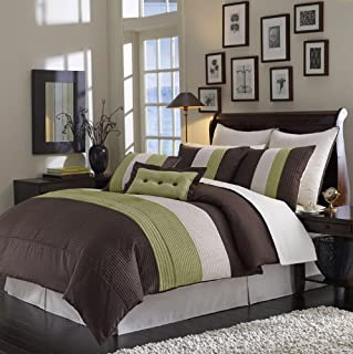 Egyptian Bedding Luxurious 8PC King Size SAGE & Chocolate Grand Park Bed in A Bag Ensemble Comforter Set