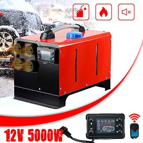 Triclicks 5KW 12V Tragbar Air Standheizung Air Diesel Heizung Kraftstoff Heizung Lufterhitzer mit Fernbedienung LCD Monitor für Auto, RV, Boote, LKW, Wohnmobil Anhänger, Wohnmobile (Roter Stil B)