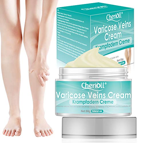 Varicose Veins Cream, Varicose Vein & Soothing Leg Cream, Varicose & Spider Veins Treatment, Strengthen Capillary Health, Improve Blood Circulation, Tired and Heavy Legs Fast Relief 50g