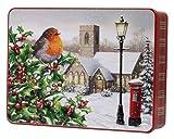 Bramble Foods - Robin de hojalata de metal sobre acebo en relieve de Navidad decorado con una variedad de galletas inglesas, 1 x 300 gramos
