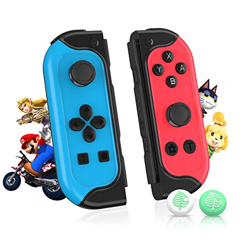 SHINEZONE Wireless Controller für Joy Con, Switch Controller mit Turbo Dual Motors Bewegungssensor Programmierbare, Joy Con für Nintendo Switch with Built-in Amiibo(Insgesamt 12 Spiele)-Blau/Rot