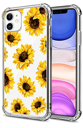 HEYORUN Sunflower Clear Case Compatible for iPhone 11 Released 2019, Yellow Sunflower Girls and Women Floral Back Case Cover, Sunflower Transparent Soft TPU Bumper Shockproof Protective Case Cover
