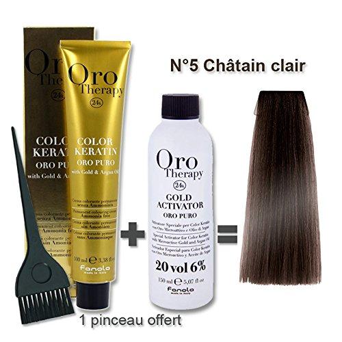 Set colorazione capelli 100ml Oro Therapy Castano Chiaro 5/+ ossidante 20volumi 150ml