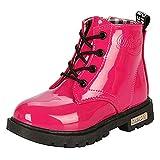 DADAWEN Mixte Enfant/Garçon/Fille/Bébé Waterproof Lace-Up Boots Rose 35
