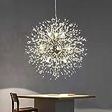 Lampadario di cristallo moderno, lampadario pirotecnico di tarassaco, lampadario decorativo per soggiorno, sala da pranzo, camera da letto, cucina (argento, 9)