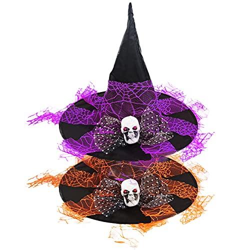 Thnkstaps Sombrero De Bruja, Sombrero De Bruja De Dos Piezas, Sombrero De Bruja De Halloween, Sombrero De Niña Bruja, con Decoración De Hilo Y Calavera, Dos Piezas