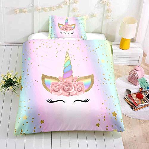 Unicorn Bedding Sets Unicorn Duvet Cover Rainbow Bedding Sets,Twin Size,1Duvet Cover,1Pillowcase(No Comforter Inside)