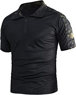Men's Outdoor Slim Fit Military Tactical Pullover Combat Short Sleeve Camo Shirt