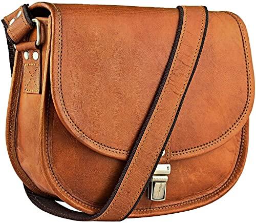 Urban Leather Dunkelbraun Umhängetasche Handtasche Geldbörse für Damen, Damen und Teenager Mädchen Satteltasche Schultertasche Umhängetasche Ledertasche Leder Geldbörse Ledersattel Geldbörse (25 cm)