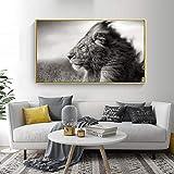 BailongXiao Sala de Estar Cartel Animal Salvaje león Pintura Animal Pintura al óleo decoración hogar Arte Blanco y Negro Oficina Imagen,Pintura sin Marco,50X75cm