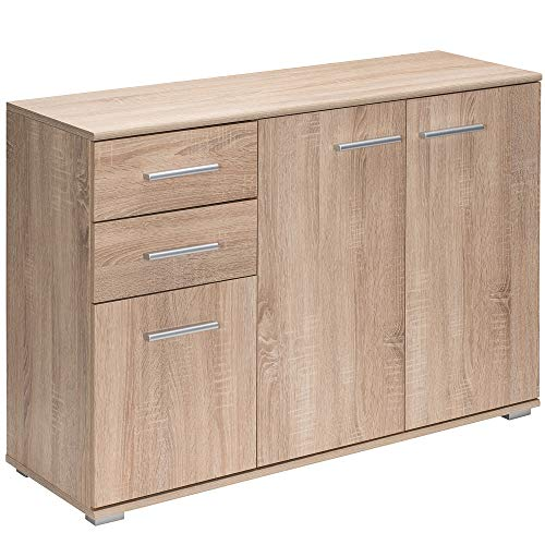Deuba Aparador Alba Roble con 3 Puertas y Dos cajones cómoda de Madera salón Dormitorio Cocina alamacenaje 107x75x35 cm