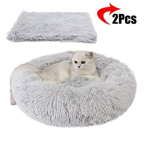 Legendog Bett für Katze, Katzenbett Set, Rutschfestes und weiches, rundes Katzen Schlafsofa Katze Schlafen Betten mit Decke für Katzen und welpen