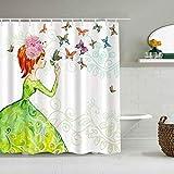 Personalisierter Duschvorhang,Schmetterlings-Romantik-Frühlings-Feen-Mädchen, das rosa Rock der langen Rock-Girlanden-schauenden winzigen Blatt-Weinpflanze,wasserabweisender Badvorhang 180x180cm