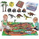 Mingfuxin Figura De Juguetes De Dinosaurio, Juegos Educativos De Dinosaurios con Alfombra De Juego Y árboles para Niños, Niños Y Niñas