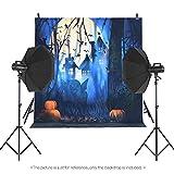 Andoer 1.5 * 2m Telón de Fondo de Fotografía Impresión Digital Halloween Calabaza Cementerio Patrón de la Impresión para Foto Estudio (Tipo 18)