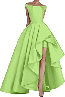 KevinsBridal Women's Off Shoulder Long Evening Prom Dresses High Low Gowns