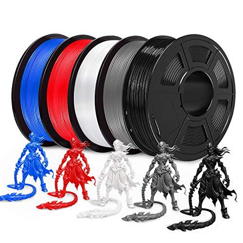 JAYO PLA 3D Printer Filament, PLA Filament 1.75mm, Dimensional Accuracy +/- 0.02 mm, 5kg Spool (11 lbs), Black+White+Grey+Blue+Red