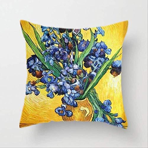 Hope Fodera per Cuscino Van Gogh Pittura A Olio Divano Cuscino Decorativo per La Casa Cuscino Girasole Autoritratto Stampa Cielo Stellato Federa 45x45cm V