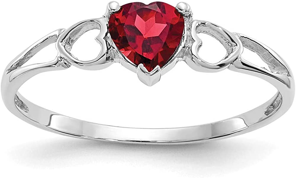 14k All items in the store White Gold Garnet NEW before selling ☆ Birthstone Ring 6 Size
