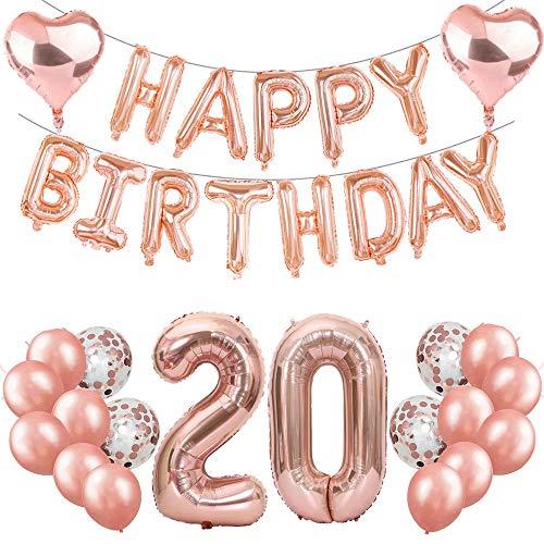 Feelairy 20 Cumpleaños Globos Decoración Oro Rosa, Globo Carta Happy Birthday Banner, Globos de Aluminio Gigante Número 20 y Corazón Globos, 20 Años Fiesta de Cumpleaños para Niña Mujer