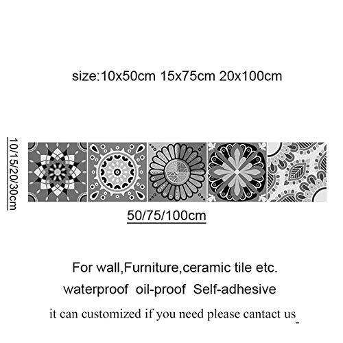 Leileixiao Gris Mandala Patrón Azulejos Árabe Pegatinas de Pared Floor Cocina Renovación Arte Mural Decalos de Pared Removibles Arte Wallpaper (Color : 6, Size : 10x50cm)