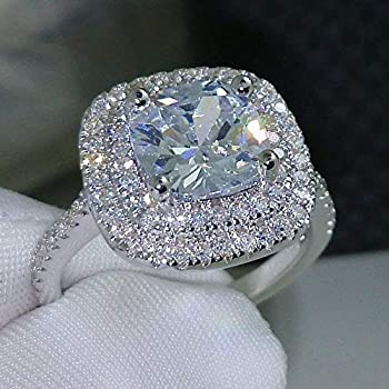 Aimys Fashion Ring Cushion Cut 4ct 5A Zircon Stone 925 Silver Engagement Wedding Band Ring for Women  10