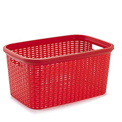 Plastic Forte - Cesta colada rectangular estilo mimbre, Pongo todo de plástico ,Cesta para ropa , Disponible 4 colores Para elegir que te más preferida 53,5 x 36 x 26,5 cm (Rojo)