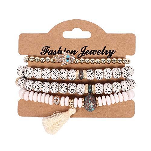 KIUY Bodhi Beads - Pulsera elástica con borlas vintage para mostrar cultura tranquila, color blanco