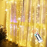 Curtain String Light, 9.8ftⅩ9.8ft USB Curtain Fairy Lights with 300 Led and 8 Lighting Modes Remote Control Waterfall Lights for Girls Bedroom Party Wall Decorations(Warm Color)