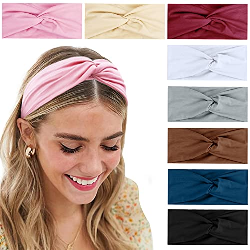 Turban Headbands for Women Boho Wide Twist Head Bands Headwraps Thick Fashion Hair Accessories, Solid Color