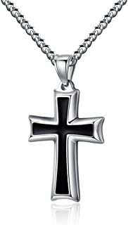 Stainless Steel Black & Silver Cross Pendant Necklace for Men Women, 20-24 Inches Curb Chain
