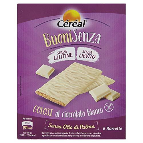 Céréal Esclusivi Golosi al Cioccolato Bianco, 6 barrette senza glutine, snack senz lievito - 120 g