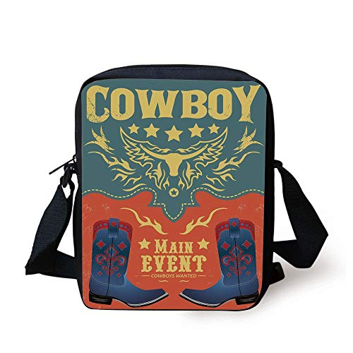 Western,Event Poster Design Traditional Cowboy Shoes Abstract Bulls Head Rodeo Decorative,Slate Blue Coral Yellow Print Kids Crossbody Messenger Bag Purse