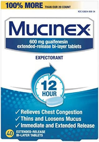 Chest Congestion, Mucinex 12 Hour Extended Release Tablets, 40ct, 600 mg Guaifenesin Relieves Chest Congestion Caused by Excess Mucus, #1 Doctor Recommended OTC expectorant