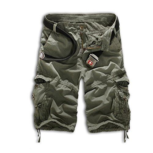 Leward Mens Casual Slim Fit Retro Cotton Solid Multi-Pocket Cargo Capri Camouflage Shorts (32, Gray)