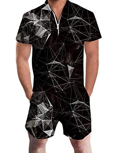 Goodstoworld Herren Jumpsuit Kurz Overall Männer Jumpsuit Casual Sommer 3D Printed Herren Strampler Grafik Overall Shorts Geometrische Linien Schwarz XL