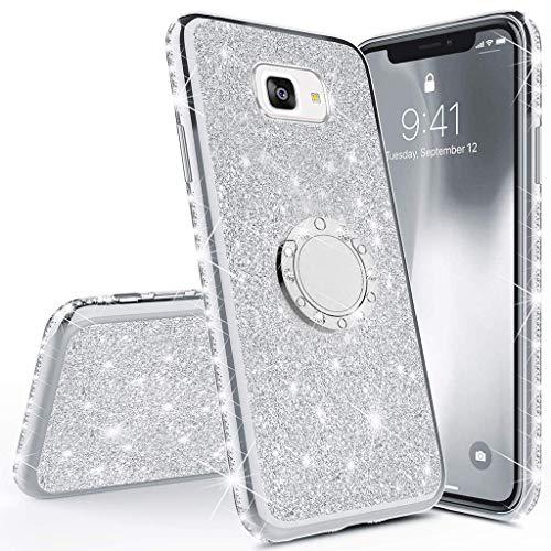 Herbests Kompatibel mit Samsung Galaxy A5 2017 Bling Strass Glitzer Schutzhülle TPU Silikon Hülle Tasche Glänzend Diamant Cover Silikonhülle Handyhülle mit 360 Grad Ring Halter,Silber