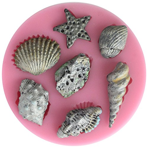Funshowcase Assorted Sea Star Seashells Silicone Candy mold for Sugarcraft, Chocolate, Fondant, Resin, Polymer Clay, Soap Making
