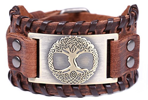 TEAMER Tree of Life Leather Bracelet Celtic Knot Pagan Yggdrasil Sigil Bracelet Amulet Jewelry for Men Women (Antique Bronze,Brown)