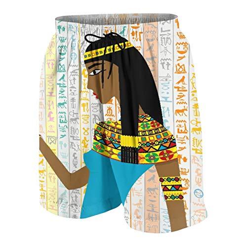 Alvaradod Traje de baño Personalizado para Hombre,Mujer egipcia Antigua sobre jeroglíficos egipcios,Ropa de Playa Trajes de baño Shorts de baño Trajes de baño S