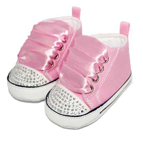 CONVERSE STYLE BABY PRAM SHOES WITH CRYSTALS AND RIBBONS Pink 12-18 months