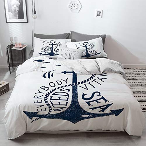 3 Piece Duvet Cover Set No Wrinkle Ultra Soft Bedding Set,Anchor,Hand Drawn Everybody Needs Vitamin Sea Quote Monochrome Fish Silhouette,Dark Blu,2 pillowcase 50 x 75cm 1 Pc Bed sheet 200 x 200cm