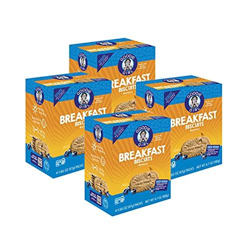 Goodie Girl, Blueberry Breakfast Biscuits   16 Packs   Gluten Free   Vegan   Peanut Free   Kosher   Includes 4 Boxes, 16 Packs Total