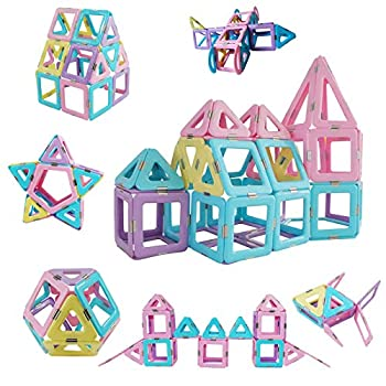 Magnetic Tiles 80pcs Magnet Building Blocks Set Creative Stacking Toys for Kids 3D DIY Construction Kit Preschool Child Montessori Toys STEM Learning Toys Gifts for Girls Boys 3 4 5 6 7 Years