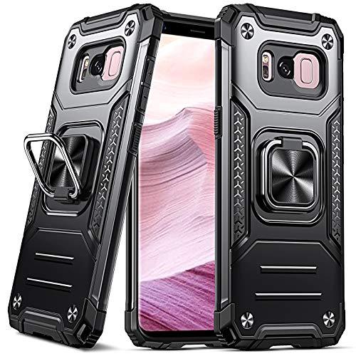 DASFOND Funda Galaxy S8 Plus, Funda Protectora de Grado Militar para teléfono con Soporte de Anillo metálico Mejorado [Soporte magnético] Compatible con Samsung Galaxy S8 Plus, Negro