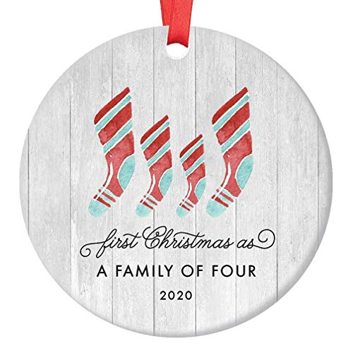 First Christmas As Family of Four Ornament 2020 Farmhouse Woodsy Two Kids New Parents Xmas Present Mom Dad Mother Father Ceramic Porcelain Keepsake 3' Flat Circle with Red Ribbon & Free Gift Box