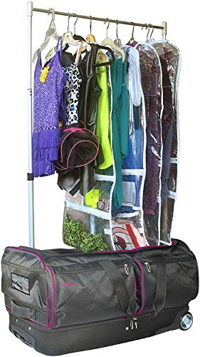 Ecogear 28' Costume Rack Duffel, Carry-On Rolling Luggage with Large Rolling Duffel Bag, In-Line Wheel (Pink)